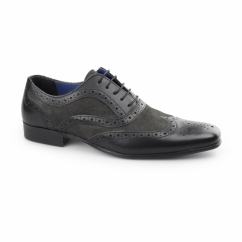 CARN Mens Leather/Suede Smart Brogues Black/Dark Grey