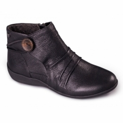 CARNABY Ladies Leather Extra Wide Fit Zip Boots Black