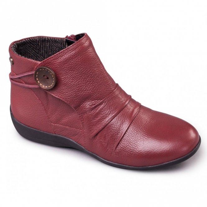 Padders CARNABY Ladies Leather Extra Wide Fit Zip Boots Burgundy