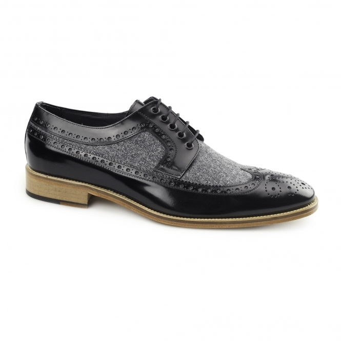 Carvelos CATANIA Mens Leather Tweed Brogues Black/Grey