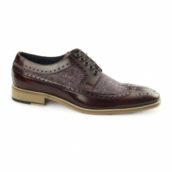 CATANIA Mens Leather Tweed Brogues Bordo/Bordo