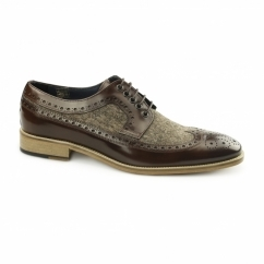 CATANIA Mens Leather Tweed Brogues Brown/Brown