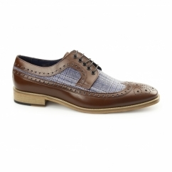 CATANIA Mens Leather Tweed Brogues Light Brown/Grey