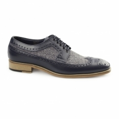 CATANIA Mens Leather Tweed Brogues Navy/Grey