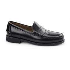 JUAN Mens Leather Penny Loafers Black
