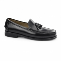 PABLO Mens Leather Tassel Loafers Black