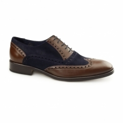 SANTA MARIA Mens Leather Oxford Semi-Brogues Brown/Navy Suede