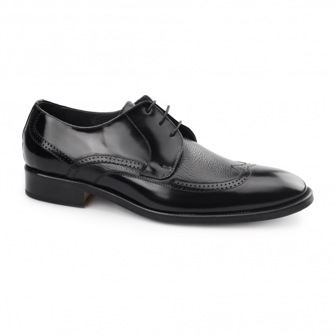 Carvelos SANTIAGO Mens Leather Derby Semi-Brogues Black