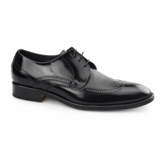 SANTIAGO Mens Leather Derby Semi-Brogues Black