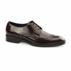 SANTIAGO Mens Leather Derby Semi-Brogues Bordo