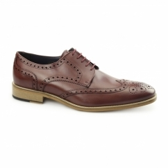 SEVILLE Mens Leather Derby Brogues Bordo