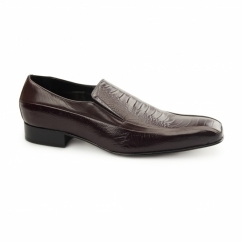 VIBORA Mens Leather Slip On Snake Effect Shoes Bordo