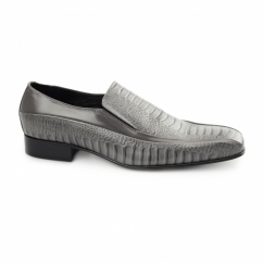 VIBORA Mens Leather Slip On Snake Effect Shoes Grey