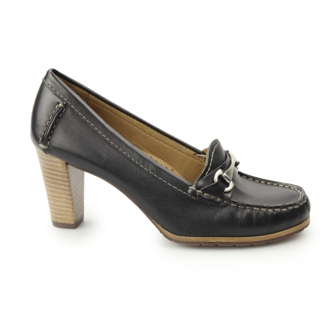 Hush Puppies CASTANA Ladies Leather Heeled Court Shoes Black