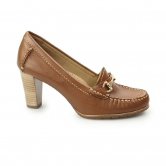 CASTANA Ladies Leather Heeled Court Shoes Cognac