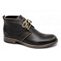 CASTLE CHUKKA Mens Lace-Up Leather Boots Brown