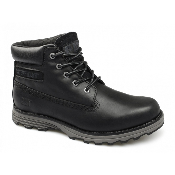 Cat ® FOUNDER Mens Leather Wide Fit Lace-Up Work Boots Black