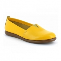 CATALAN Ladies Leather Casual Espadrilles Yellow