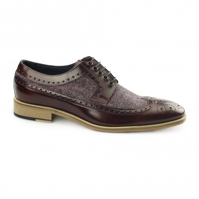 Carvelos CATANIA Mens Leather Tweed Brogues Bordo/Bordo