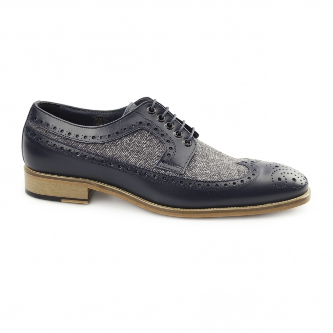 Carvelos CATANIA Mens Leather Tweed Brogues Navy/Grey