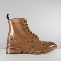Catesby Shoes Mens Leather Welted Brogue Derby Boots Tan