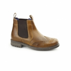 CAVALIER Mens Waxy Leather Brogue Chelsea Boots Tan