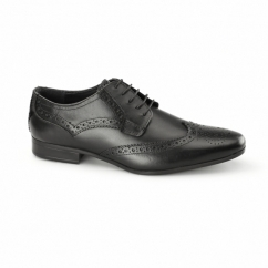 RICHARD Mens Leather Derby Brogues Black