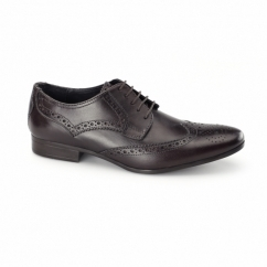 RICHARD Mens Leather Derby Brogues Burgundy