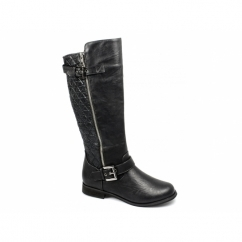 CATRONA Ladies Faux Leather Zip Buckle Biker Boots Black