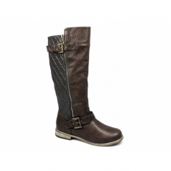 CATRONA Ladies Faux Leather Zip Buckle Biker Boots Brown
