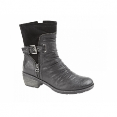 LOIS Ladies Ruched Faux Leather Suede Buckle Boots Black