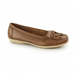 CEIL MOCC KL Ladies Leather Loafer Shoes Tan