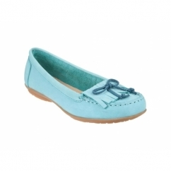 CEIL MOCC Ladies Leather Loafer Flat Shoes Teal