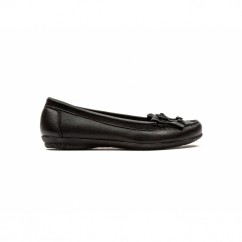Hush Puppies CEIL MOCC Ladies Leather Loafer Flat Shoes Black