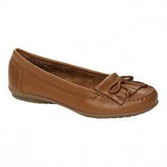 Hush Puppies CEIL MOCC Ladies Leather Loafer Flat Shoes Tan
