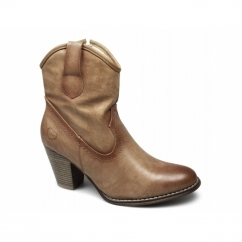 CELESTE Ladies Faux Leather Cowboy Boots Camel