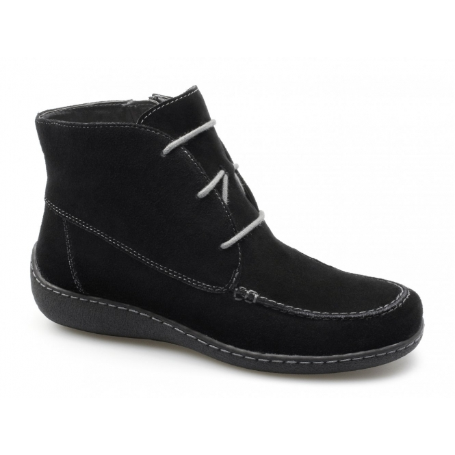 Caprice CELINA Ladies Suede Zip Lace-Up Moccasin Boots Black