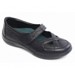 CELLO Ladies Leather Velcro Mary Jane Shoes Black