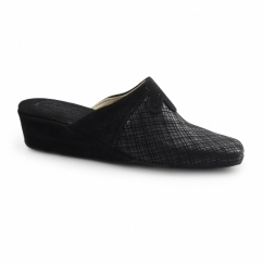 CERVIA Ladies Suede Mule Slippers Black