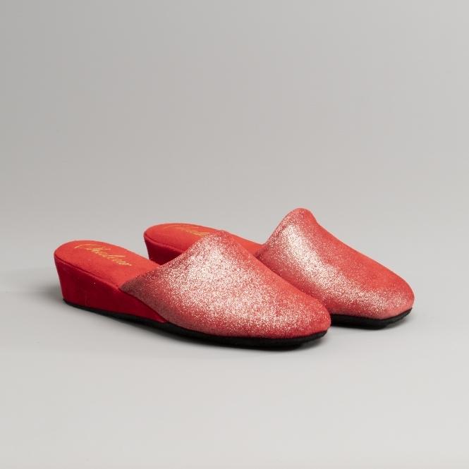 Chaleur DEVON Ladies Suede Leather Glitter Wedge Slip On Mule Slippers Red