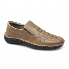 CHANDLER Mens Vented Leather Loafers Camel