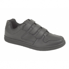 CHARING CROSS Mens Triple Velcro Trainers Black