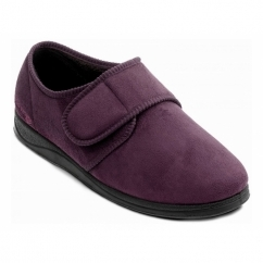 CHARLES Mens Microsuede Velcro Wide (G) Fitting Slippers Burgundy