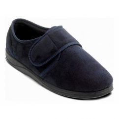 CHARLES Mens Microsuede Velcro Wide (G) Fitting Slippers Navy