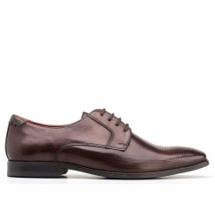 Base London CHARLES Mens Leather Lace Up Derby Shoes Brown