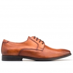Base London CHARLES Mens Leather Lace Up Derby Shoes Tan