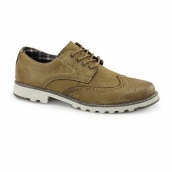 CHASE Mens Nubuck Derby Brogues Tan