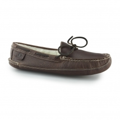 CROWN LIFE Mens Leather Moccasin Slipper Red Brown