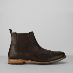 Chatham DUDLEY II Mens Leather Brogue Chelsea Boots Dark Brown