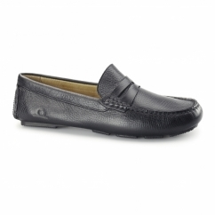 ESCAPE Mens Leather Driving Loafers Black